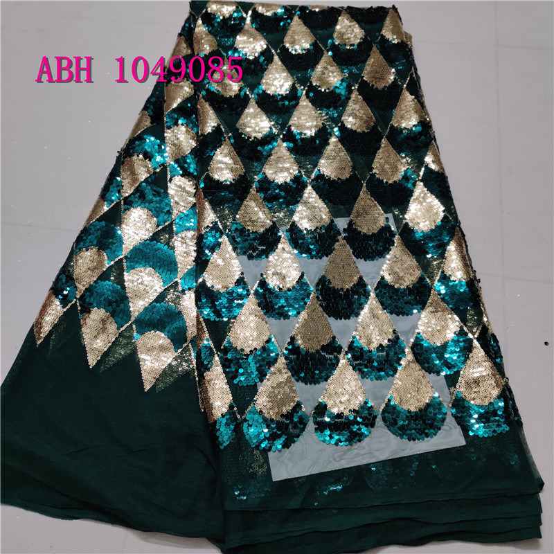 Nigerian Net Lace Fabric High Quality 3d Sequins African Wedding Lace Fabrics 5Yards Green Color Sequins