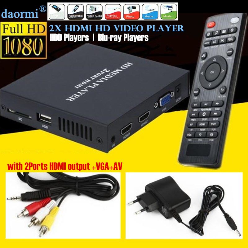 цена на Mini Full HD 1080P USB External HDD Player Host Support MKV AVI U Disk SD MMC 2xHDMI Media Video Player IR Remote Blu-ray Player