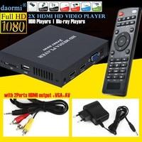 Mini Full HD 1080P USB External HDD Player Host Support MKV AVI U Disk SD MMC 2xHDMI Media Video Player IR Remote Blu ray Player