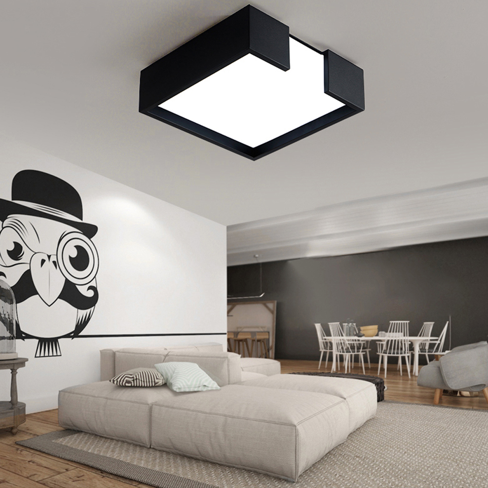 Square bedside lamp shades better lamps square lamp shades - Led Nordic Iron Acrylic White And Black Led Lamp Led Light Ceiling Lights