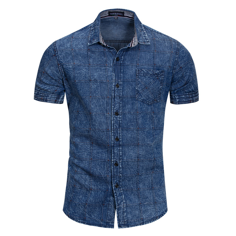 Helisopus Vintage Plaid Denim Shirt Cargo Military Short Sleeve Tops Spring Summer Casual Shirt