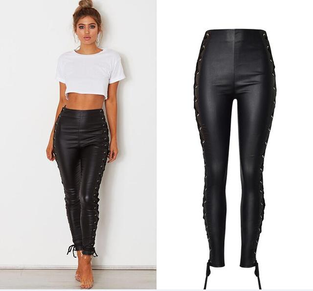 e0b6744d6386a Women s Sexy Side lace up Faux Leather Stretch Skinny Pants Lady Black  coated High Waisted PU Jeans Trousers