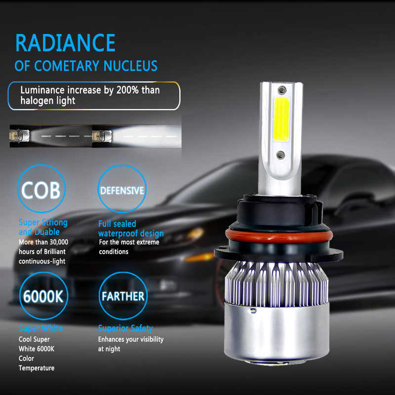 2pcs/Set NEW C6 Headlight Lamp Kit Black/Silver Optional 9005 9006 H1 H4 H7 H11 Plug 72W 8000LM Led Foglight Bulb For 12/24V Car
