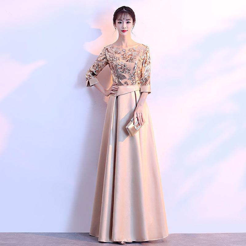 Novelty Chinese Women Improved Full Length Cheongsam 2018 Elegant Slim Party Dress Plus Size 3XL Sequins
