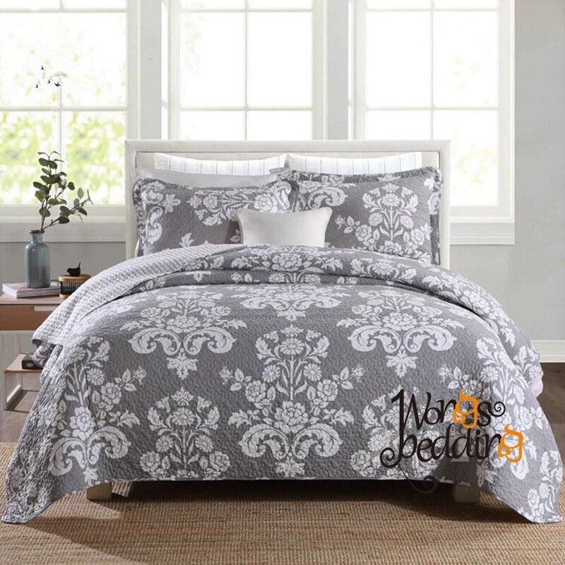100% 코 튼 그레이 컬러 침대보 베개 케이스 퀸 사이즈 유럽 자 카드 침대 커버 고품질 소프트 커버 렛 3 pcs 새로운-에서침대커버부터 홈 & 가든 의  그룹 1