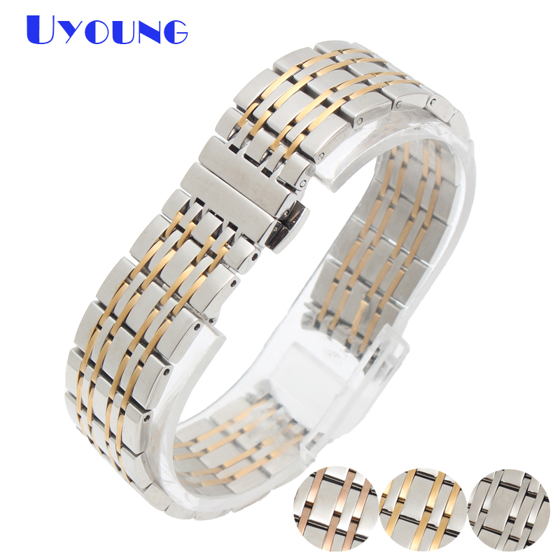 Stainless Steel bracelet soil metal band 19mm for T085 mens watches top brand watch strap silver rose gold stripe watchband watch bands 22mm silver with rose gold solid stainless steel mens metal watch band bracelet strap for ar1648 ar1677 ar0389