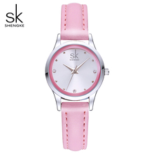 SK Ladies Watches Small Round Dial Quartz Watch Waterproof Montre Femme Women Pink Leather Watches 2017