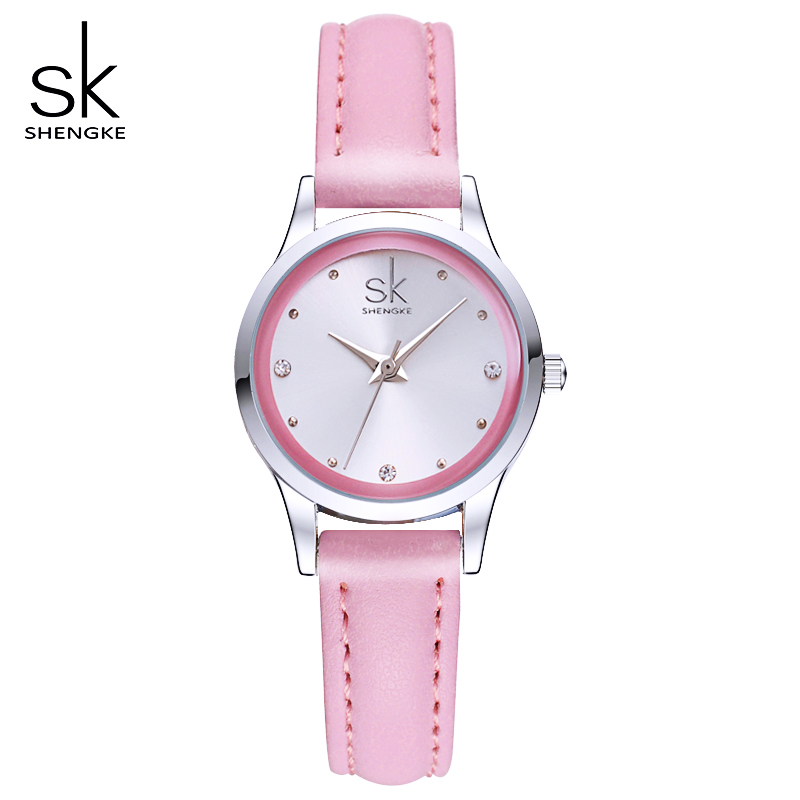 Shengke Ladies Watches Small Round Dial Quartz Watch Women Fashion Leather Watches Montre Femme SK 2017
