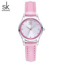 Shengke Ladies Watches Small Round Dial Quartz Watch Women Fashion Leather Watches Montre Femme SK 2018