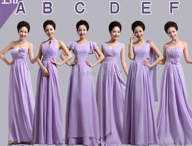 Floor length flowers pleat appliques 6 design long light purple mint ...
