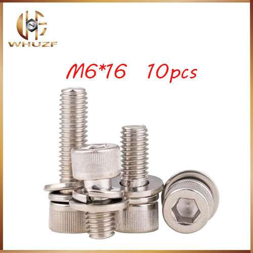 10ps M6*16mm 304 Stainless Steel Knurled Thumb Head Inner Bolt Hexagon ,Lock Washer Sems Assembly combination m6 bolts,m6 nails