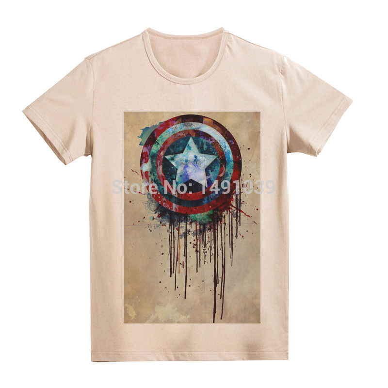 The first Avenger Captain America shield pattern printing new cool vintage khaki tee