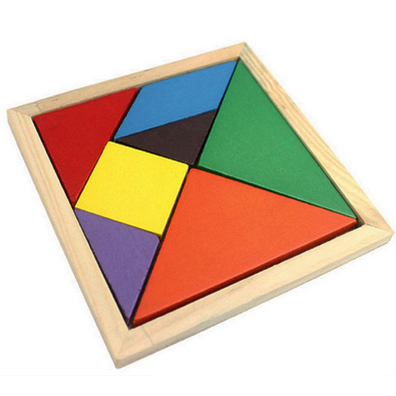 Wooden Tangram 7 Piece Jigsaw Puzzle Colorful Square IQ Game Brain Teaser Intelligent Educational Funny Toy For Kid