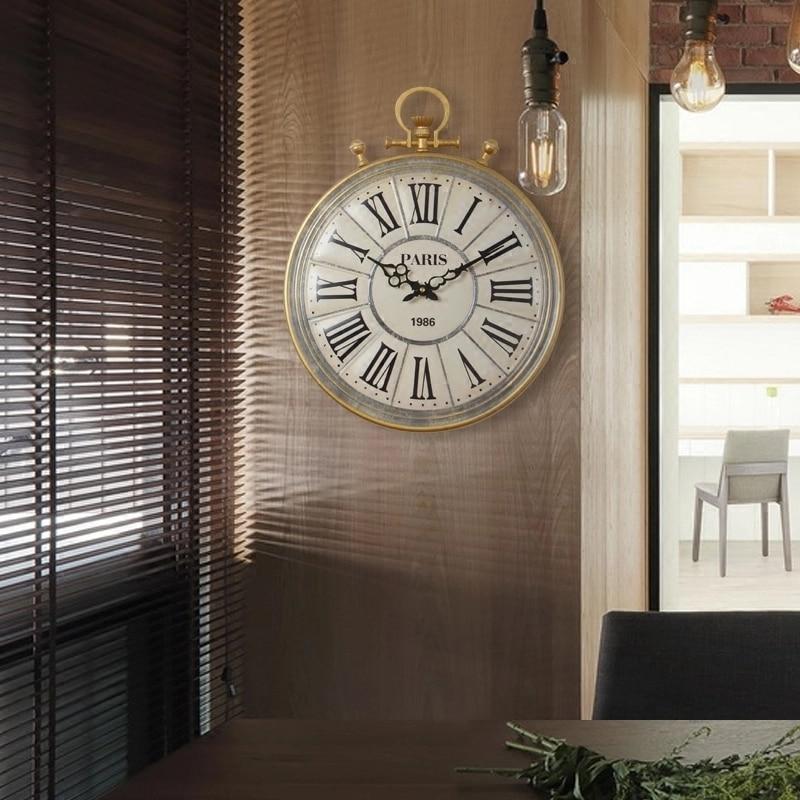 European Style Relogio De Mesa Retro Antique Pocket Watch Wall Clock Living Room Home Decor