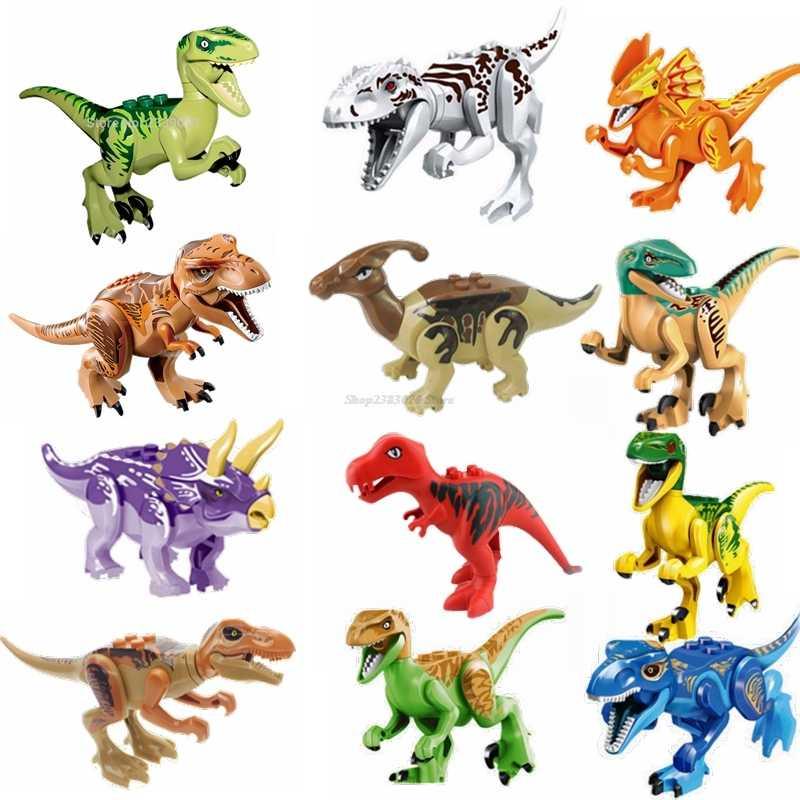 Legoing Dinossauros Jurassic Parque Mundo Animais Figuras Indominus Rex Dinossauro Raptor Tijolos de Blocos de Construção de Brinquedos de Presente Diy Legoing