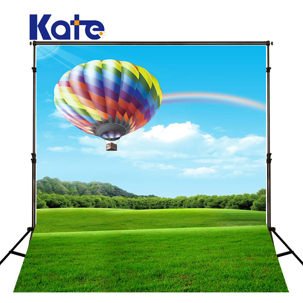 Kate Green Backgrounds for Photo Studio Wedding Rainbow Balloon Wedding Background Photo Blue Blue Sky Grassland Background new arrival background fundo hydrant balloon flowers 600cm 300cm width backgrounds lk 2982