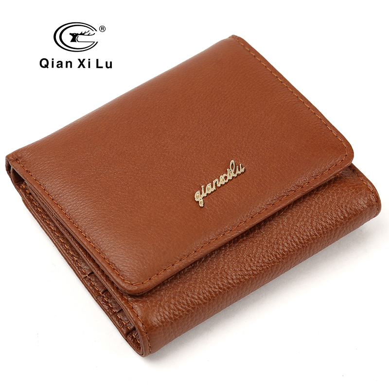 Brand design miniwallet genuine leather women short wallets coin pocket small wallet female purse money clip