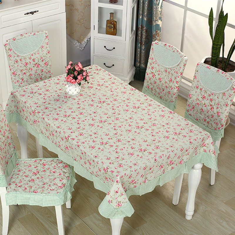 9pcs/set Pastoral Floral Pattern Tablecloth Dining Room Chair Covers Print Anti-Slip Chair Cloths Family Party Table Cloth Cover