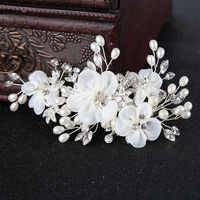 Le liin Новый Шелковый в форме цветка для волос заколка Свадебная заколка невесты заколка головной убор Свадебные аксессуары для волос невест...