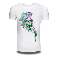 DY-126 3D Skull Printed Oversized M-3XL Mens's Cotton Max T shirts Camisetas White Printed Short-Sleeved t shirt