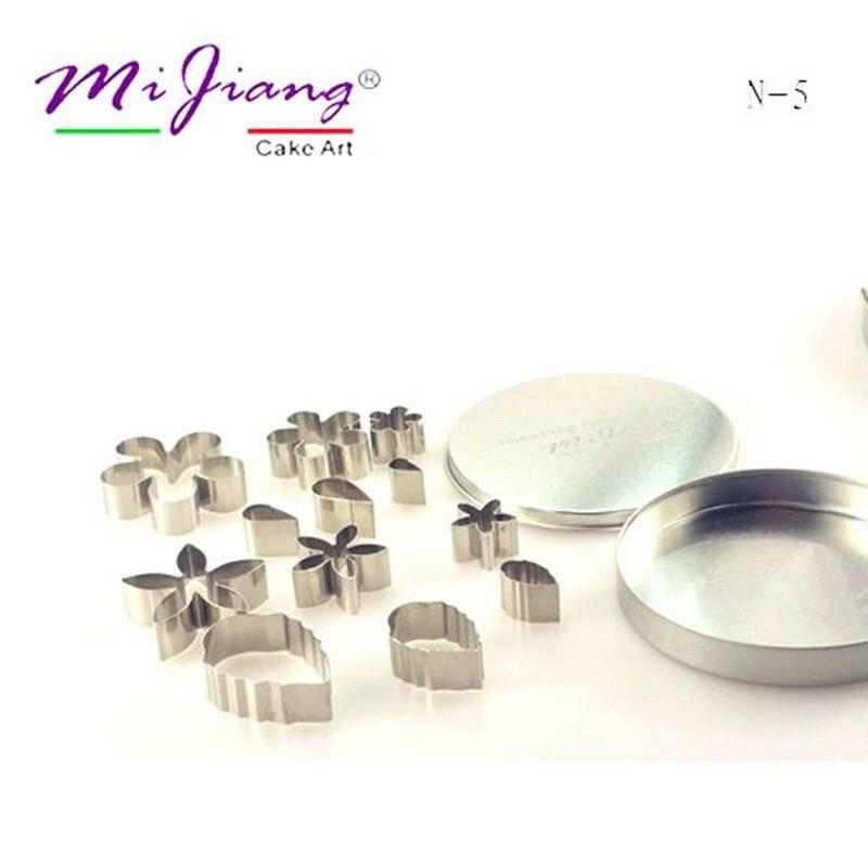 12pcs / set 다양 한 스테인레스 스틸 꽃 꽃잎 퐁 당 장식 쿠키 커터 케이크 꾸미기 도구 주방 액세서리 SN-5