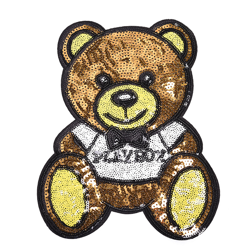 Cartoon Bow Reversible Change Color Iron-on Sequins Patches Clothes Sticker