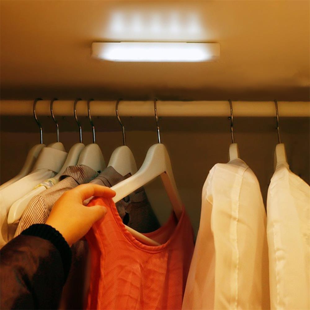 Battery Mini LED Tap Lights 5 LEDs Self-Stick Wireless Wall Lamp Emergency Wardrobe Cabinet Push Night Light Closet Light