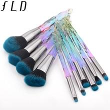 FLD 10 шт. алмазные кисти для макияжа Набор Косметическая Пудра основа тени для век губы брови красочные Professional Макияж кисточки комплект