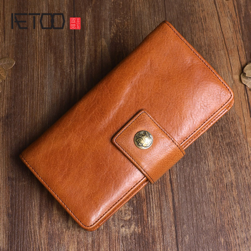 AETOO Original retro design leather long wallet First layer leather multi function clasp handbag literary old