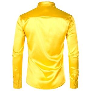 Image 2 - Chemise luxueuse, manches longues, soie, paillettes, Chemise de soirée en Satin brillant, Chemise de soirée, Chemise sur scène, danse, boîte de nuit, Costume de bal