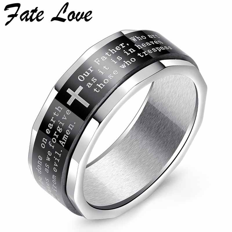 Fate Love Rotating Ring Men Jewelry Vintage Black Bible Cross Rings Stainless Steel Party Ring Anillos Titanium Mens Jewellery