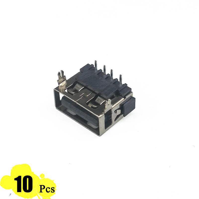 10Pcs/Lot Type A Female USB 2.0 Short body 4 Pin 2 Foot 90 Insert direct Data Charge Plug Socket Jack Connector Wire Adapeter 10pcs lot micro usb connector jack