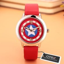 2016 New Fashion Brand Captain America watch Women Dress kids  Watches Cartoon Leather Quartz wristwatch