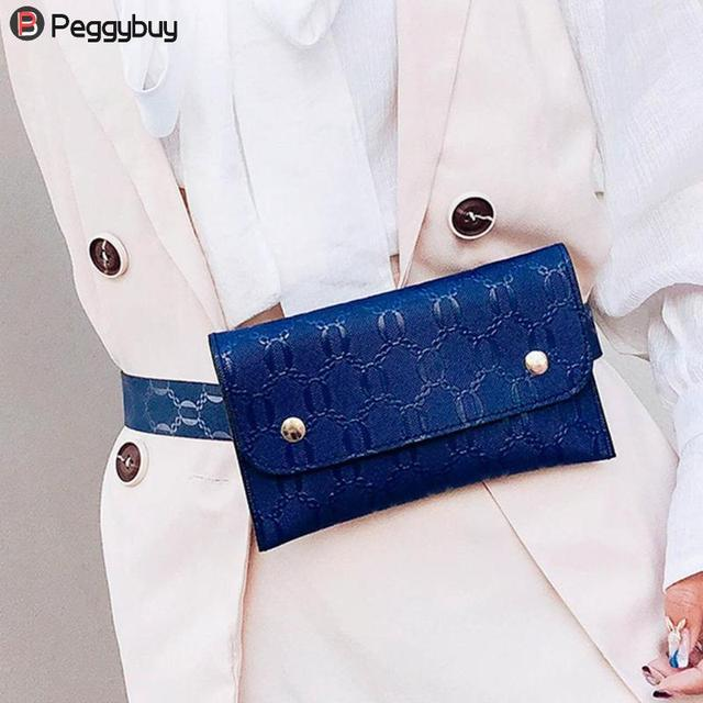 Waist Bag Women PU Leather Chest Packs Belt Bag Pure Flap Phone Small Shoulder Fanny Packs for Women