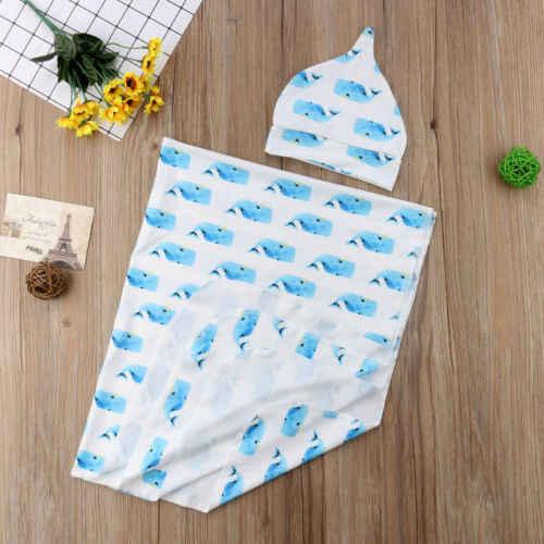 Прекрасный новорожденный для маленьких мальчиков девушка Акула печать Пеленальный Одеяло Детские спальные Обёрточная бумага шляпа 2 шт. наряды одежда из хлопка От 0 до 12 лет месяцев