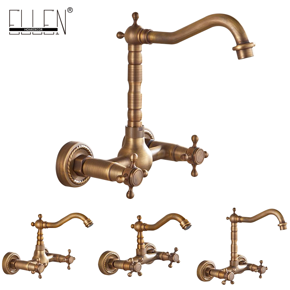 Wall Mounted Kitchen Sink Faucet Antique Bronze Sink Crane Hot Cold Water Mixer Tap Luxury Vintage