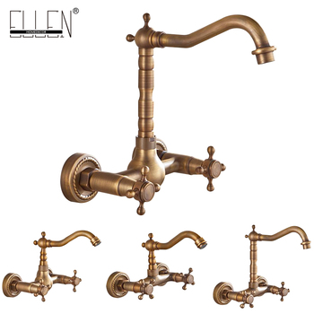 Wall Mounted Kitchen Sink Faucet Antique Bronze Sink Crane Hot Cold Water Mixer Tap Luxury Vintage Balcony Kitchen Faucet ELK44