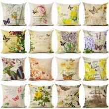 New Arrive Retro Flowers And Butterflies Cushion Cover Decorative Sofa Throw Pillow Car Chair Home Decor Case almofadas