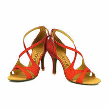YOVE Dance Shoe Women's Latin/ Salsa Dance Shoe 3.5″ Slim High Heel More Color w122-30