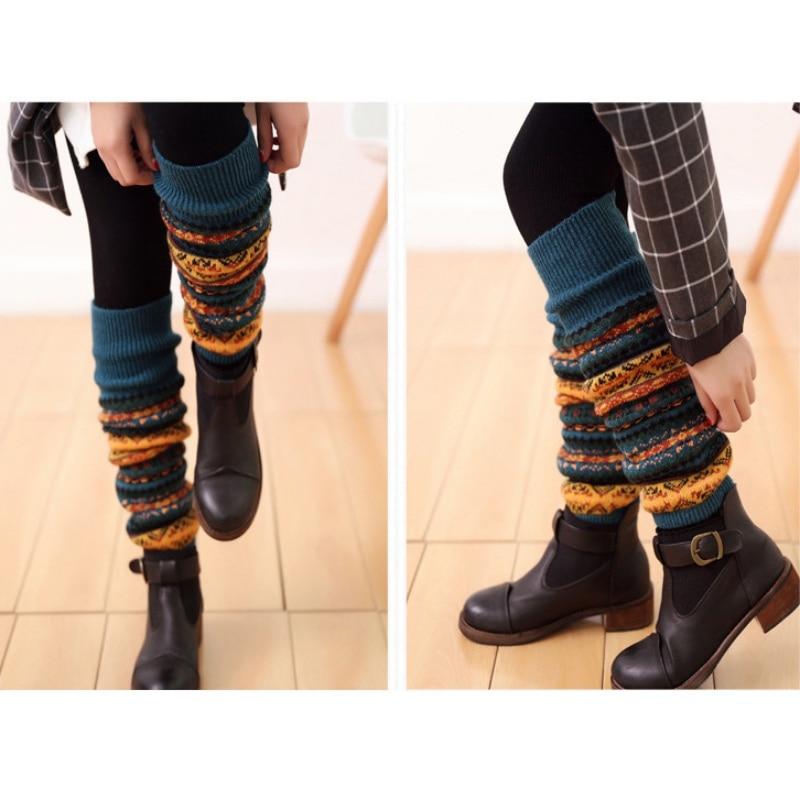 WEIXINBUY Women Winter Elegant Over Knee Long  Knit cover Patchwork Colorful Ladies Crochet Vintage Leg Warmers Legging Chic HTB1R8TGgv2H8KJjy0Fcq6yDlFXan