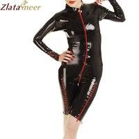 Для женщин пикантные латекса комбинезон с мокрым эффектом черный резиновый jumpysuit дамы плюс Размеры фетиш латекс костюм lc090