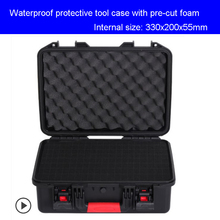 Tool case Suitcase Toolbox Impact resistant sealed waterproof safety case equipment camera case Instrument box with pre-cut foam ip67 waterproof shockproof black compressive durable toolbox with full cubes foam inserts