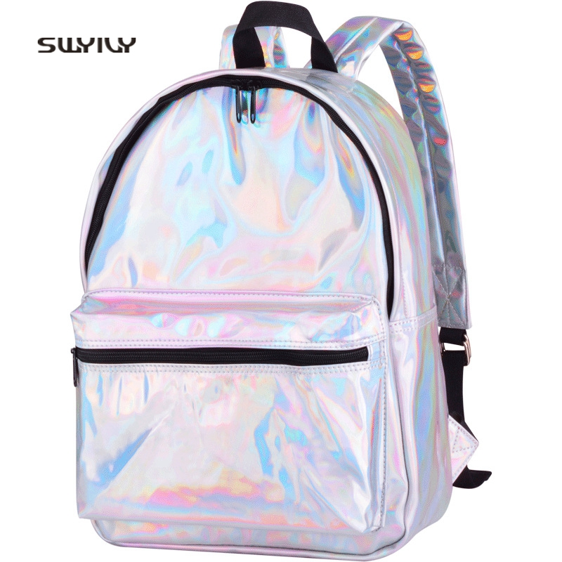 SWYIVY Womens Shoulder Bag Laser Color 2018 New Female Fashion Backbag Travel Student Casual Schoolbag Womens Bags