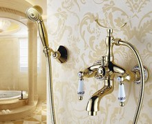 Luxury Gold Color Brass Bathroom Wall Mounted Handheld Shower Bath Tub Faucet Mixer Tap With Shower Head Bracket Holder atf406 luxury led color changing shower head wall hanger handheld shower arm holder chrome 59 stainless steel shower hose with bracket