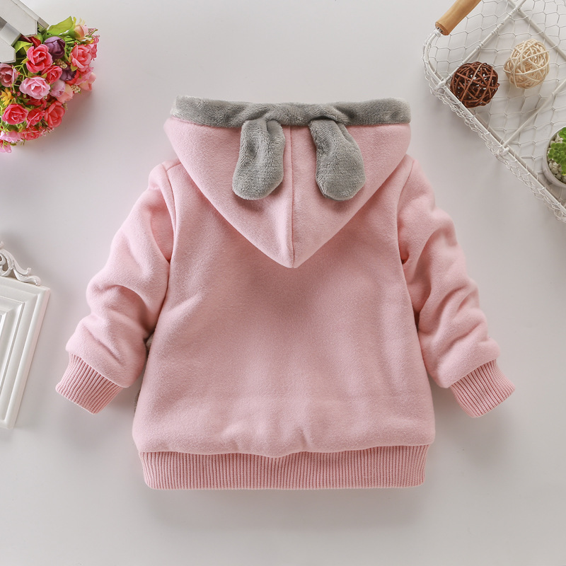 Girls Sweatshirts Hoodies Children Clothing Autumn And Winter Baby girl Thick Cotton Tops Kids Cute Cartoon Rabbit Hooded Coat 3