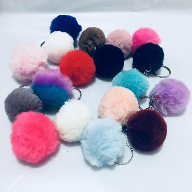 27 màu sắc Hot Bán Đính Ngù Móc Khóa Faux Fur Rabbit Keychain Fluffy Dây Đeo Chìa Khóa Nữ Trang Keychain cho DIY 4 cm llaveros