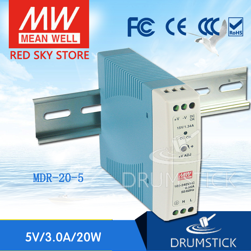 Best-selling MEAN WELL MDR-20-5 5V 3A meanwell MDR-20 5V 15W Single Output Industrial DIN Rail Power Supply mean well original mdr 100 12 12v 7 5a meanwell mdr 100 12v 90w single output industrial din rail power supply