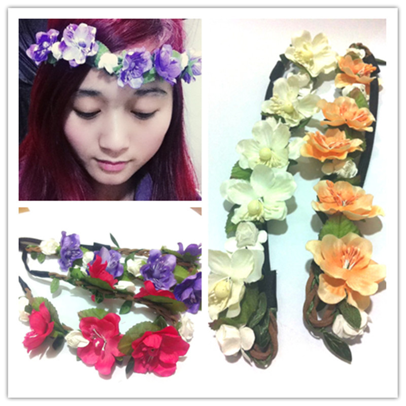 Wreath Women Head Flower Crown Girls Forehead Headband Head Bridal Hairband Wreath Beach Hair Accessory Wedding Garland Fashion women girl bohemia bridal camellias hairband combs barrette wedding decoration hair accessories beach headwear