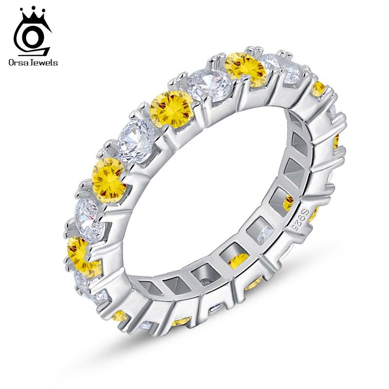 Verlobungsringe Orsa Juwelen Luxus Yellow & Clear Österreichischen Zirkon Frauen Hochzeit Bands Ring Silber Farbe Mode Schmuck Or60