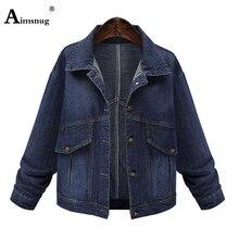 2019 New Casual Vintage Women Plus Size Xl-5XL Long Dark Blue Jeans Jacket Coat Full Sleeves Loose Women Denim Female Jacket цена